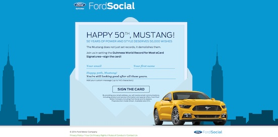 Campanha 50 anos Ford Mustang